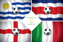 Brazil 2014 group D. FIFA word cup. Brazil 2014 group D. Vector flag with shadow. FIFA word cup Royalty Free Illustration