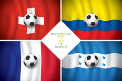 Brazil 2014 group E. FIFA word cup. Brazil 2014 group E. Vector flag with shadow. FIFA word cup Royalty Free Stock Photos