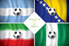 Brazil 2014 group F. FIFA word cup. Brazil 2014 group F. Vector flag with shadow. FIFA word cup Royalty Free Illustration