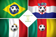 Brazil 2014 group A. FIFA word cup. Brazil 2014 group A. Vector flag with shadow. FIFA word cup Stock Photography