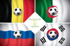 Brazil 2014 group H. FIFA word cup. Brazil 2014 group H. Vector flag with shadow. FIFA word cup Royalty Free Stock Image