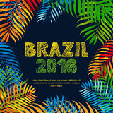 Brazil 2016 hand drawn sketched scratched lettering. Summer floral tropical background. Royalty Free Stock Photo