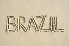 Brazil Handwritten Message on Smooth Sand Stock Photo