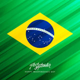 Brazil Happy Independence Day greeting card with hand lettering text design. Vector illustration Royalty Free Stock Photography