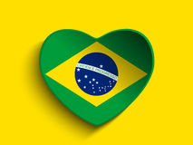 Brazil 2014 Heart with Brazilian Flag Stock Images
