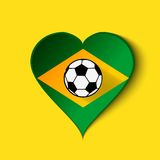 Brazil 2014 Heart icon with Brazilian Flag. Vector. EPS10 Royalty Free Stock Photo