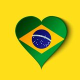 Brazil 2014 Heart icon with Brazilian Flag. Vector. EPS10 Royalty Free Stock Image