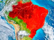 Brazil in red on Earth Stock Photo