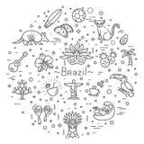 Brazil icon set. Flat design royalty free illustration