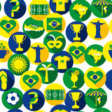 Brazil icon set. Seamless pattern. Stock Image