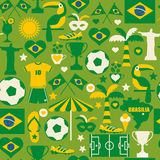 Brazil icon set. Seamless pattern. Stock Images