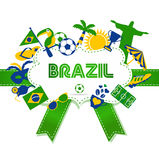 Brazil icon set. Vector illustration of soccer. Stock Images