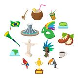 Brazil icons cartoon. Brazil icons in cartoon style for web and mobile devices vector illustration