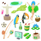 Brazil icons set, cartoon style Royalty Free Stock Image