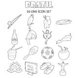 Brazil icons set, outline style Royalty Free Stock Photography