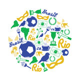 Brazil icons and symbols set in circle eps10 Stock Photos