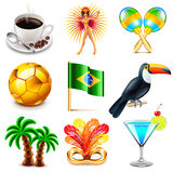 Brazil icons vector set. Brazil icons detailed photo realistic vector set Royalty Free Stock Photo
