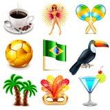 Brazil icons vector set Royalty Free Stock Photo