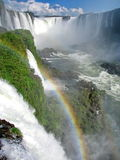 Brazil: Iguazu Waterfalls, with rainbow, seen from the Brazilian Royalty Free Stock Photo