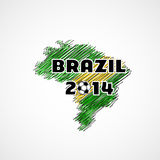 Brazil illustration, map with soccer ball. Easy all editable Stock Images