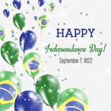 Brazil Independence Day Greeting Card. Flying Balloons in Brazil National Colors. Happy Independence Day Brazil Vector Illustration Royalty Free Stock Image