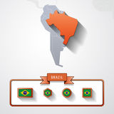 Brazil info card. Brazil on the map of South America with flags Stock Images