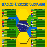 Brazil 2014 info graphics. With brazil flag colored hexagons background, 100% vector Royalty Free Stock Image