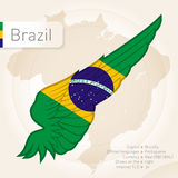 Brazil infographics with flag, map and information. Vector illus Royalty Free Stock Photo