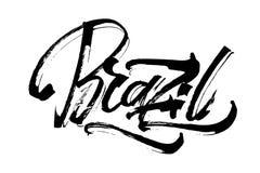brazil Iscrizione moderna della mano di calligrafia per la stampa di serigrafia Fotografia Stock Libera da Diritti