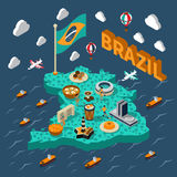 Brazil Isometric Map Royalty Free Stock Photos