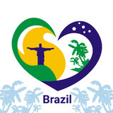 Brazil Jesus Statue lag Colors Colorful Banne Royalty Free Stock Photo