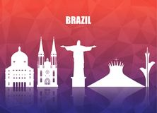 Brazil Landmark Global Travel And Journey paper background. Vect Royalty Free Stock Photo