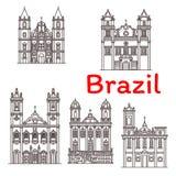 Brazil landmarks vector architecture line icons Stock Image