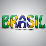 Brazil Letters with Brazilian Flag. football 2014.  Royalty Free Stock Image