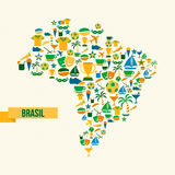 Brazil lifestyle map sport and culture icon set stock illustration