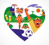 Brazil love - heart with a set of icons Stock Photography