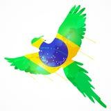 Brazil macaw flag. Brazilian bird macaw flying with brazil flag texture stock illustration