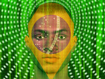 Brazil man with binary Stock Photography