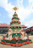 Brazil, Manaus: Christmas Tree and Holy Family. This Christmas tree was erected in front of the wholesale market Mercado Municipal Adolpho Lisboa in Manaus ( royalty free stock images