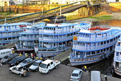 Brazil Manaus harbour in Rio Negro Stock Photo