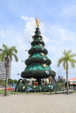 Brazil, Manaus/Ponta Negra: Christmas Tree. Ponta Negra is a neighborhood in the west of Manaus city center. In 2014 this tree adorned the yearly Christmas and Stock Photos