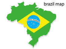 Brazil map. Illustration of Brazil map with flag royalty free illustration