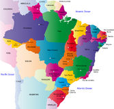 Brazil map. Designed in illustration with the 26 states colored in bright colors and with the main cities. On an illustration neighbouring countries are shown