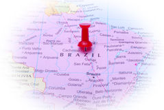 Brazil in map. Macro shot of Brazil map with push pin royalty free stock photo