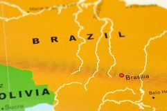 Brazil on map royalty free stock photos