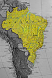 Brazil Map. America. paper. concept Royalty Free Stock Photo