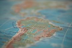 Brazil on the map. Brazil on the world map.  royalty free stock photo