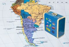 Brazil map and travel case with stickers my photos. Brazil map and case with stickers my photos - travel background stock images
