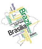 Brazil map and cities. Brazil map and words cloud with larger cities stock illustration