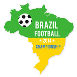 Brazil map in the colors of the flag. With soccer ball and text of Brazil football championship 2014 Royalty Free Illustration